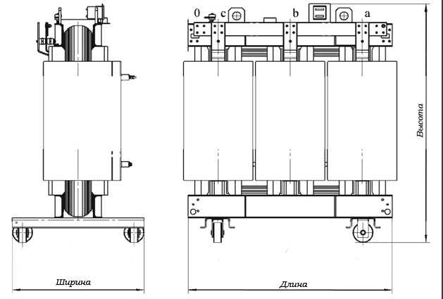Технические и габаритно-весовые характеристики трансформаторов ТС-6,3 - ТС-2500 (ТСТ) .